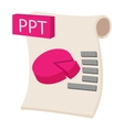 PPT extension text file icon cartoon style vector image vector image