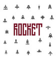 rockets icon set flat silhouettes space ships vector image