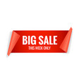 sale red banner realistic paper ribbon vector image vector image