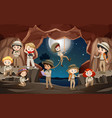 scene with many children in cave vector image vector image