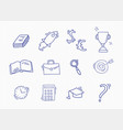 set of hand drawn school icons vector image vector image