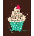 Silhouette of colorful cupcake with text vector image vector image