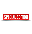 Special edition red 3d square button isolated on vector image