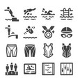 swimming icon set vector image vector image