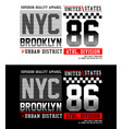 typography nyc brooklyn 86 with race flag vector image vector image