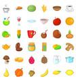 vegetarian kitchen icons set cartoon style vector image vector image