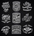 vintage retro labels with black background vector image