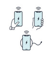 wireless charger hands holding vector image vector image