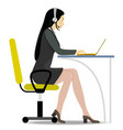 Woman with headset on her head sitting on a chair vector image