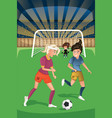 women playing soccer in a match vector image