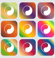 Yin Yang icon Nine buttons with bright gradients vector image