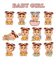 baby girl set cute girls in vector image