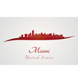 Miami skyline in red vector image
