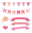 Set of pink flat buntings garlands ribbons and vector image