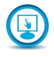 Touchscreen monitor icon blue 3D vector image
