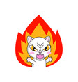 angry cat sticker isolated on white background