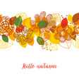 autumn pattern colorful leaves and flowers vector image