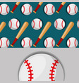 baseball bat and ball sport competition pattern vector image