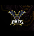 bat mascot sport logo design vector image vector image