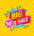 big sale concept banner template design discount vector image vector image