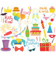 birthday party accessories set isolated party vector image vector image