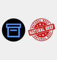 box icon and grunge natural beef seal vector image vector image