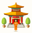 Building of China with china monks vector image vector image