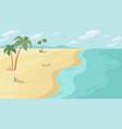 cartoon beach sea ocean shore palm trees scenery vector image