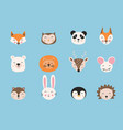 cartoon cute animals hand drawn characters vector image