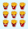 cartoon fries cute character face sticker vector image vector image