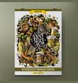 cartoon hand drawn doodles beer fest poster design vector image vector image