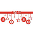 christmas card ribbon red colored with shadow vector image