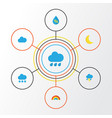 climate flat icons set collection of bow rain vector image vector image
