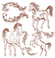collection of hand drawn horses and flourishes vector image