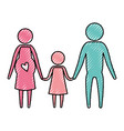 color crayon silhouette pictogram couple parents vector image vector image