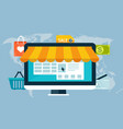 concept of online shopping by electronic funds vector image vector image