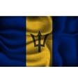 crumpled flag of Barbados on a light background vector image vector image