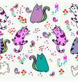 cute cat seamless pattern with little bird vector image vector image