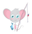 cute grey mouse fishing stock vector image vector image