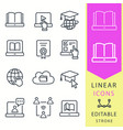 e-learning education icons set graduation cap vector image vector image