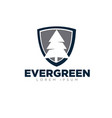 evergreen business up and shield logo designs vector image vector image