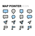 flat map pointer icons set vector image vector image