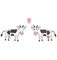 hand drawn a pair of cows vector image