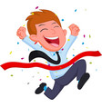 happy businessman cartoon running at the finish li vector image vector image