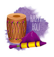 happy holi invitation card dholak color pichkari vector image