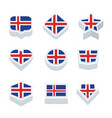 iceland flags icons and button set nine styles vector image