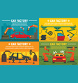 industry car factory banner set flat style