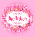 invitation with sakura or cherry blossom floral vector image vector image