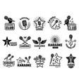 karaoke event music party symbols emblems vector image