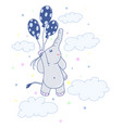 kawaii flying elephant image design vector image